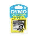 Cinta Dymo plástico 12mm negro/plateado