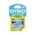 Cinta Dymo plástico 12mm negro/azul claro