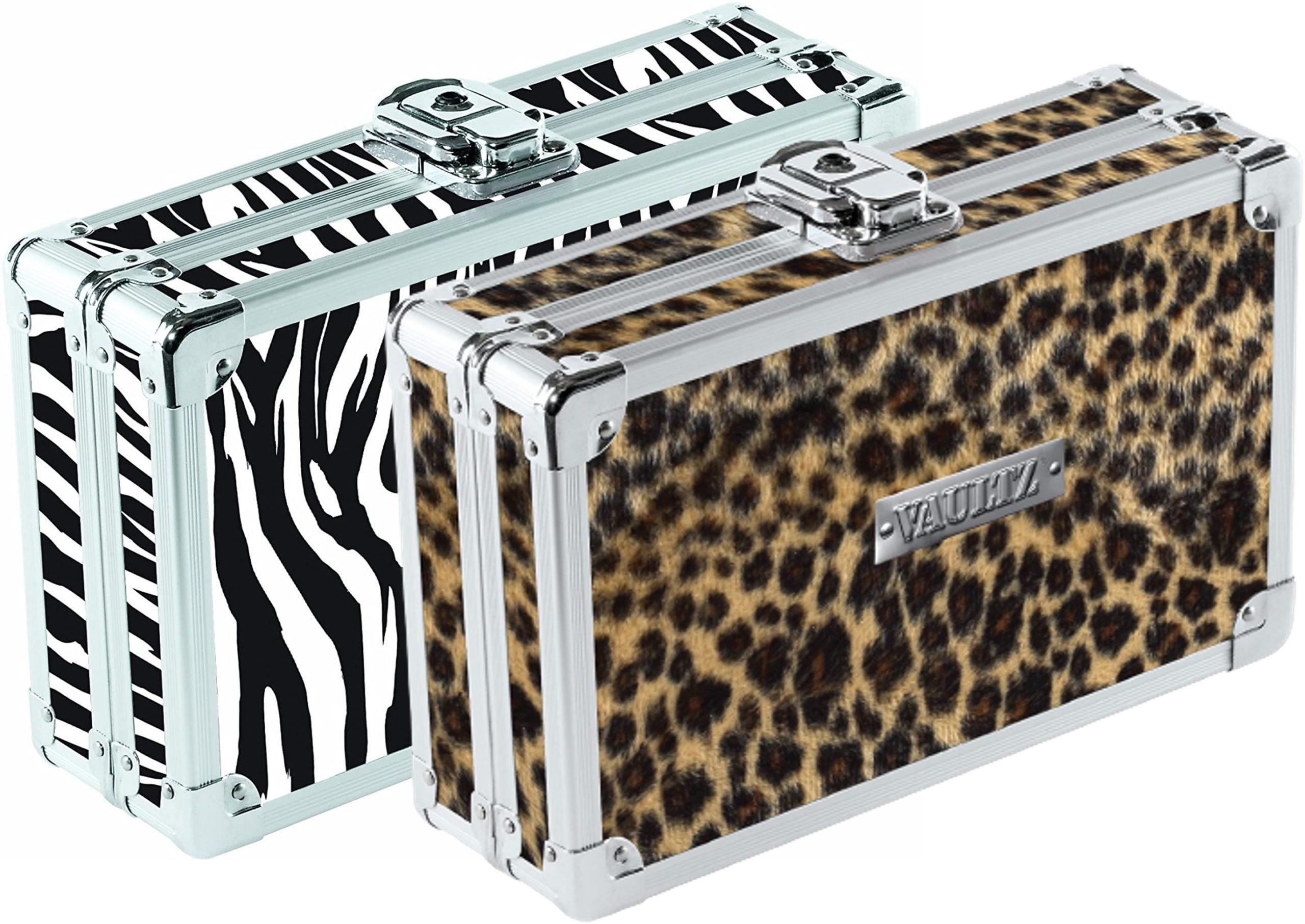 Caja de seguridad Vaultz con llave, paquete x 2, diseños Zebra/Leopardo